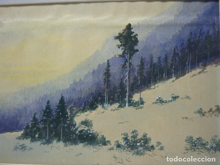 Arte: Bella acuarela antigua anónima s.XIX - paisaje de montaña con nieve - Foto 2 - 196375720