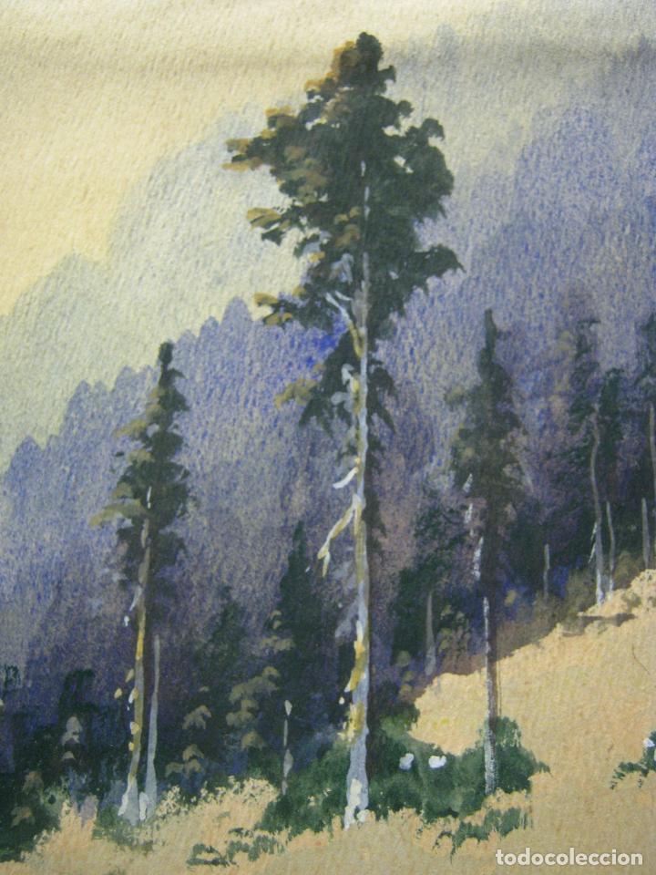 Arte: Bella acuarela antigua anónima s.XIX - paisaje de montaña con nieve - Foto 3 - 196375720