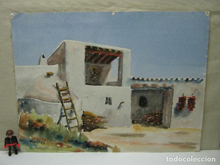 BELLA ACUARELA FIRMADA 1979 - IBIZA - CASA EN S. GERTRUDIS EIVISSA (Arte - Acuarelas - Contemporáneas siglo XX)