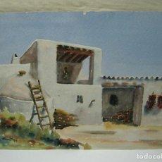Arte: BELLA ACUARELA FIRMADA 1979 - IBIZA - CASA EN S. GERTRUDIS EIVISSA. Lote 196376777