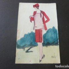 Art: ACUARELA FIGURIN MODA AÑOS 30 ART DECÓ 9 X 14 CMTS FIRMADA. Lote 196496573