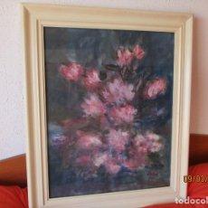 Arte: . EXPLENDIDA ACUARELA DE ROSAS. FIRMADA: J. CUSINE. (REUS 1915-1986) SIN 62X40CM. CON 76X63 CM.. Lote 196593668