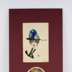 Arte: TRES RETRATOS DE MUJERES, 1920'S, ACUARELA Y LÁPIZ, POSIBLEMENTE DE LLUÍS MASRIERA. VER FOTOS ANEXAS. Lote 196600956
