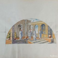 Arte: ESCENA EN UN PATIO. ACUARELA SOBRE PAPEL. FIRMADO ANAGRAMA DE GORGUES. 1980. . Lote 196823323