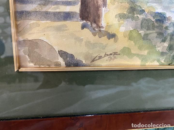Arte: Acuarela del pintor Lahoz 1977. Marco estilo Carlos IV. Paisaje en el campo. 42x33 - Foto 2 - 196942352