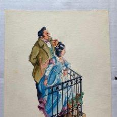 Arte: MIQUEL PALAU I CLAVERAS - EN EL BALCÓN. ORIGINAL FIRMADO. Lote 197243431