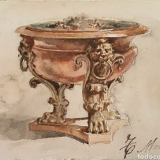 Arte: TOMÁS MORAGAS I TORRAS (GIRONA,1837-BARCELONA, 1906) - BRASERO ISABELINO.2 AGUADAS I TINTA.FIRMADA.. Lote 197276387