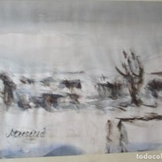 Arte: ACUARELA. PAISAJE NEVADO. FIRMADO: J. CUSINE. (REUS). SIN MARCO 28 X 40 CM. CON MARCO 43 X 55 CM.. Lote 197554982