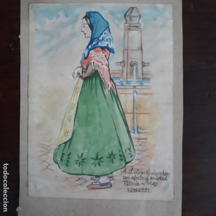 ACUARELA FIRMADA LOIGORRI VITORIA 1940 (Arte - Acuarelas - Modernas siglo XIX)