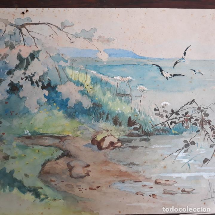 ACUARELA GRAN CALIDAD FIRMADA MARIN 1914 (Arte - Acuarelas - Modernas siglo XIX)