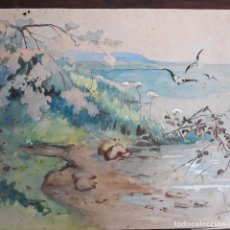 Arte: ACUARELA GRAN CALIDAD FIRMADA MARIN 1914. Lote 197579623