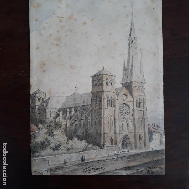 Arte: acuarela firmada y fechada guillaume 1852 nostredam finisimo trabajo maestro - Foto 2 - 197581257
