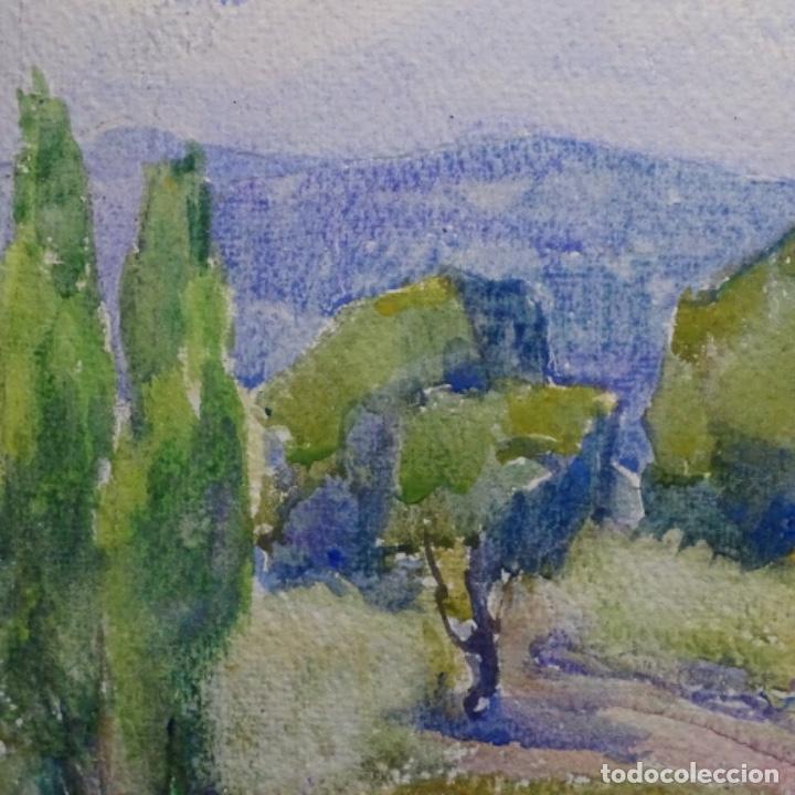 Arte: 2 acuarelas anónimas de buen trazo y colorido.por delante y detrás. - Foto 4 - 197673317