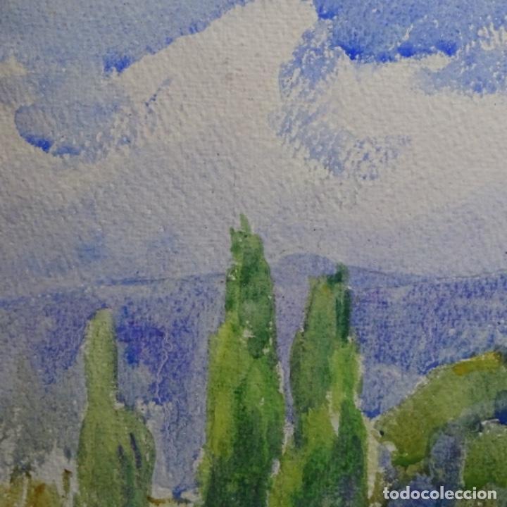 Arte: 2 acuarelas anónimas de buen trazo y colorido.por delante y detrás. - Foto 6 - 197673317