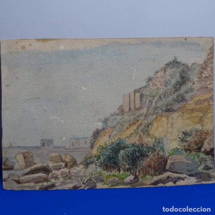 ANTIGUA ACUARELA FIRMADA F. L. (Arte - Acuarelas - Contemporáneas siglo XX)