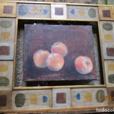 Arte: GALICIA ARTE - BODEGON OLEO ' RUBEN ALVAREZ ' DE LOS 70'S VIGO, BASTIDOR 42X23CM + INFO. Lote 197753145