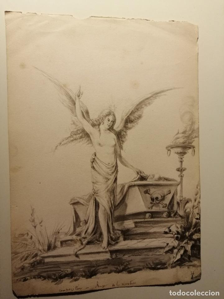 COMPOSICIÓN , ANGEL DE LA RESURRECCIÓN. AGUADA SOBRE PAPEL 26X18 CM. FIRMADO VZANT. CA. 1835. (Arte - Acuarelas - Modernas siglo XIX)