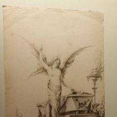 Arte: COMPOSICIÓN , ANGEL DE LA RESURRECCIÓN. AGUADA SOBRE PAPEL 26X18 CM. FIRMADO VZANT. CA. 1835.. Lote 197882136