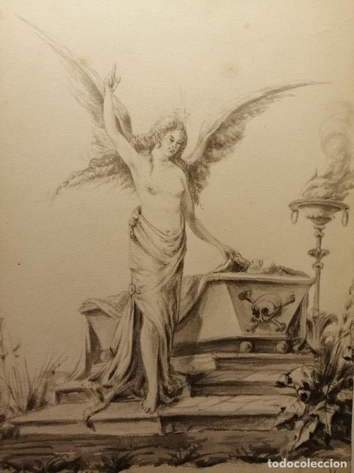 Arte: Composición , Angel de la Resurrección. Aguada sobre papel 26x18 cm. Firmado VZant. Ca. 1835. - Foto 2 - 197882136