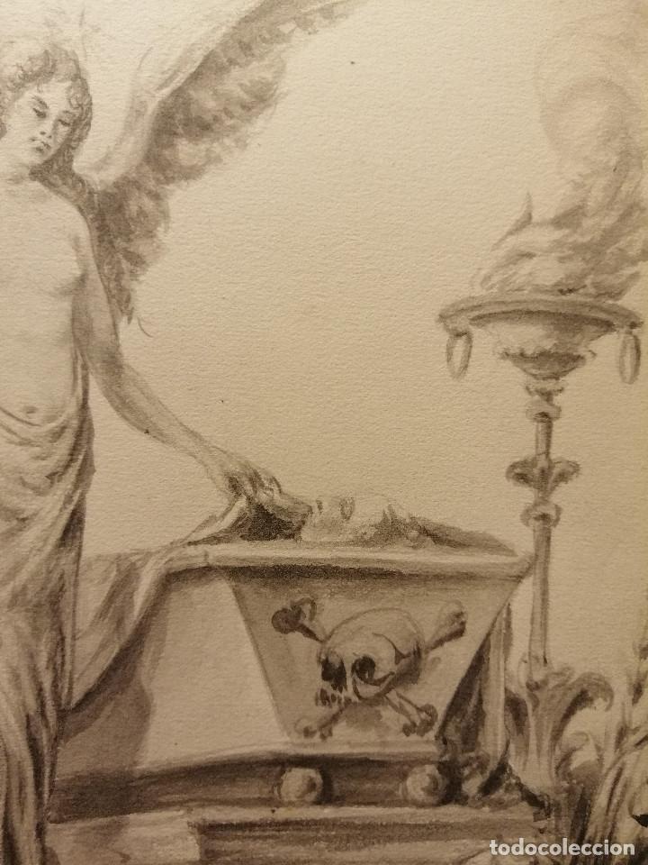 Arte: Composición , Angel de la Resurrección. Aguada sobre papel 26x18 cm. Firmado VZant. Ca. 1835. - Foto 3 - 197882136