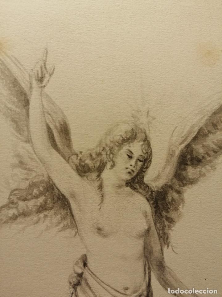 Arte: Composición , Angel de la Resurrección. Aguada sobre papel 26x18 cm. Firmado VZant. Ca. 1835. - Foto 4 - 197882136