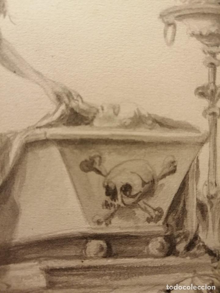 Arte: Composición , Angel de la Resurrección. Aguada sobre papel 26x18 cm. Firmado VZant. Ca. 1835. - Foto 5 - 197882136