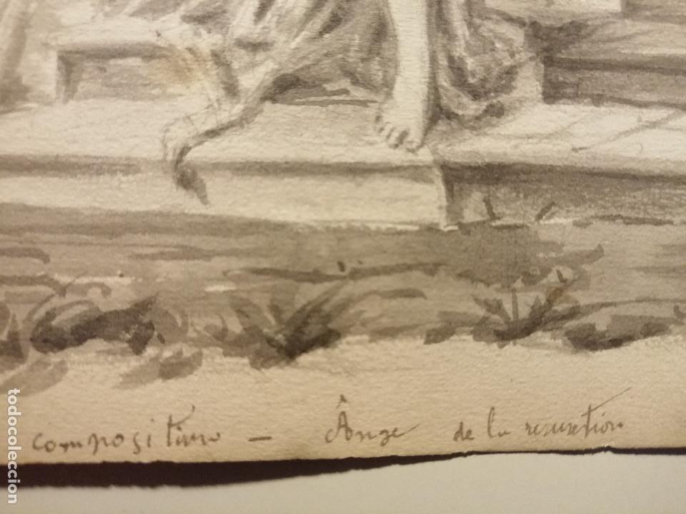 Arte: Composición , Angel de la Resurrección. Aguada sobre papel 26x18 cm. Firmado VZant. Ca. 1835. - Foto 6 - 197882136