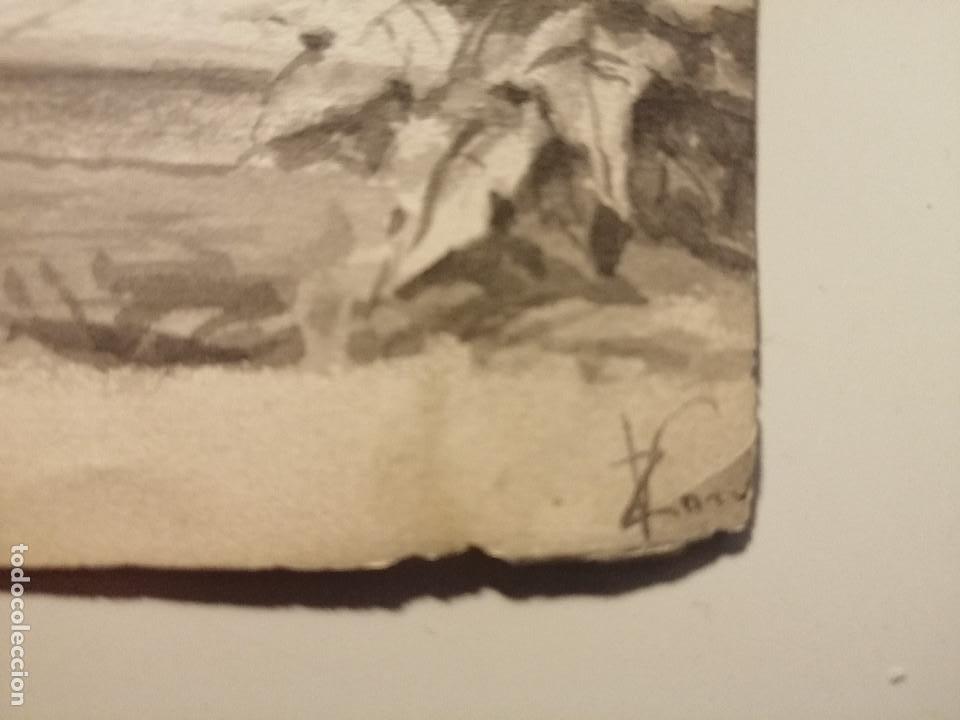 Arte: Composición , Angel de la Resurrección. Aguada sobre papel 26x18 cm. Firmado VZant. Ca. 1835. - Foto 7 - 197882136