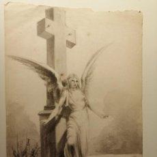 Arte: COMPOSICIÓN , ANGEL GUARDIAN . AGUADA SOBRE PAPEL 26X18 CM. FIRMADO VZANT. CA. 1835.. Lote 197882222
