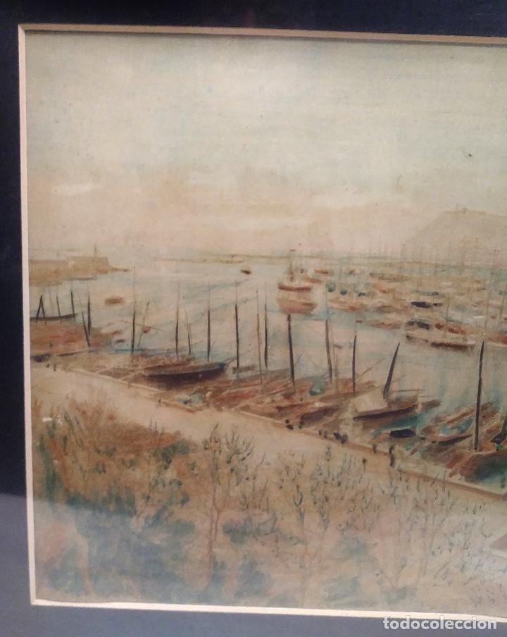 Arte: Puerto Barcelona S XIX Monumento a Cristobal Colon en Construccion Acuarela - Foto 2 - 197957822