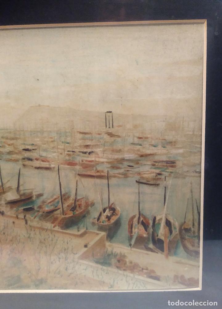 Arte: Puerto Barcelona S XIX Monumento a Cristobal Colon en Construccion Acuarela - Foto 3 - 197957822