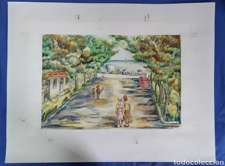 Arte: ACUARELA DE JOAN CARDONA AÑOS 40 - Foto 3 - 198041401