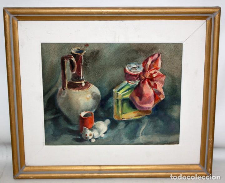 Arte: FIRMADO ABELLO. ACUARELA SOBRE CARTULINA DE LOS AÑOS 60. BODEGON - Foto 2 - 198068517