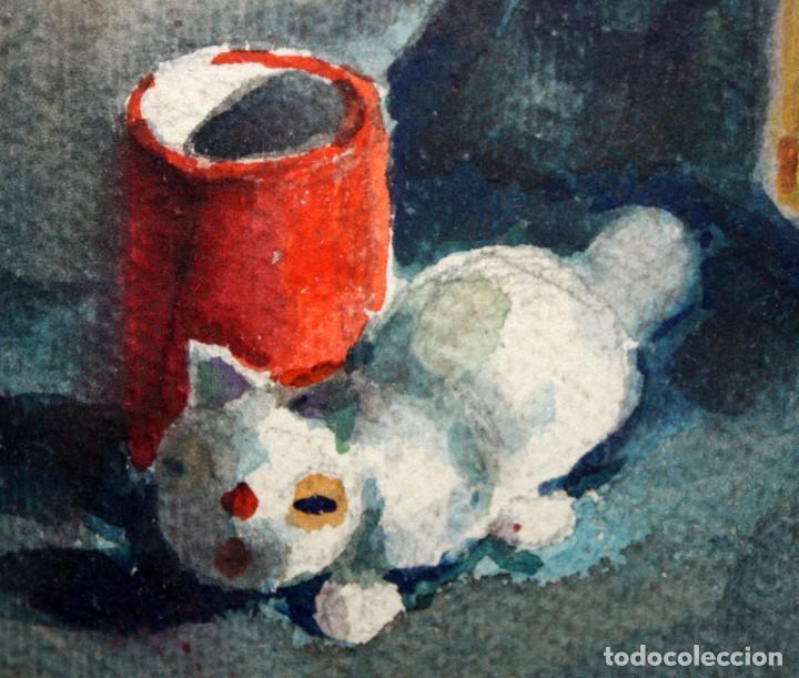 Arte: FIRMADO ABELLO. ACUARELA SOBRE CARTULINA DE LOS AÑOS 60. BODEGON - Foto 5 - 198068517