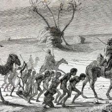 Arte: GRABADO 1856 - CONVOY ESCLAVOS EN AFRICA - 240X150 MM - ORIGINAL. Lote 198137558