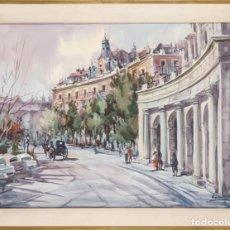 Arte: ACUARELA SOBRE PAPEL PLAZA DE ORIENTE MADRID FACHADA TEATRO REAL FIRMADO VISCONTI. Lote 210560163