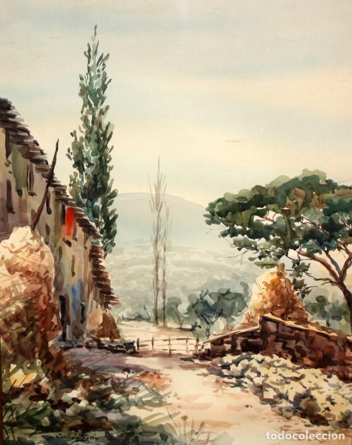 JULIAN LEON. ACUARELA SOBRE PAPEL. PAISAJE RURAL (Arte - Acuarelas - Contemporáneas siglo XX)