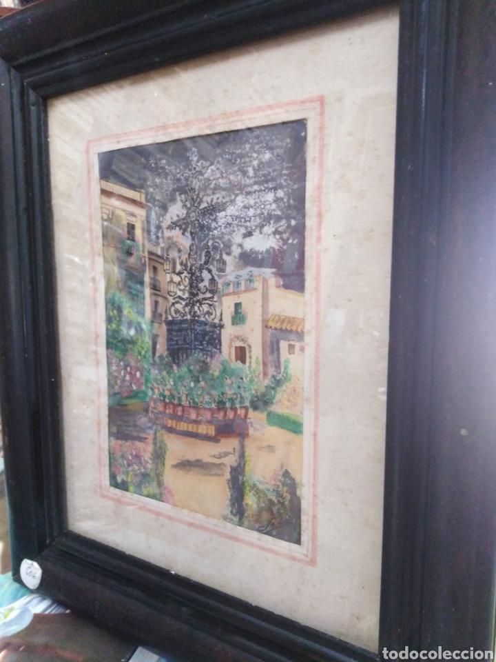 Arte: Acuarela antigua años 50 patio andaluz - Foto 2 - 198296216