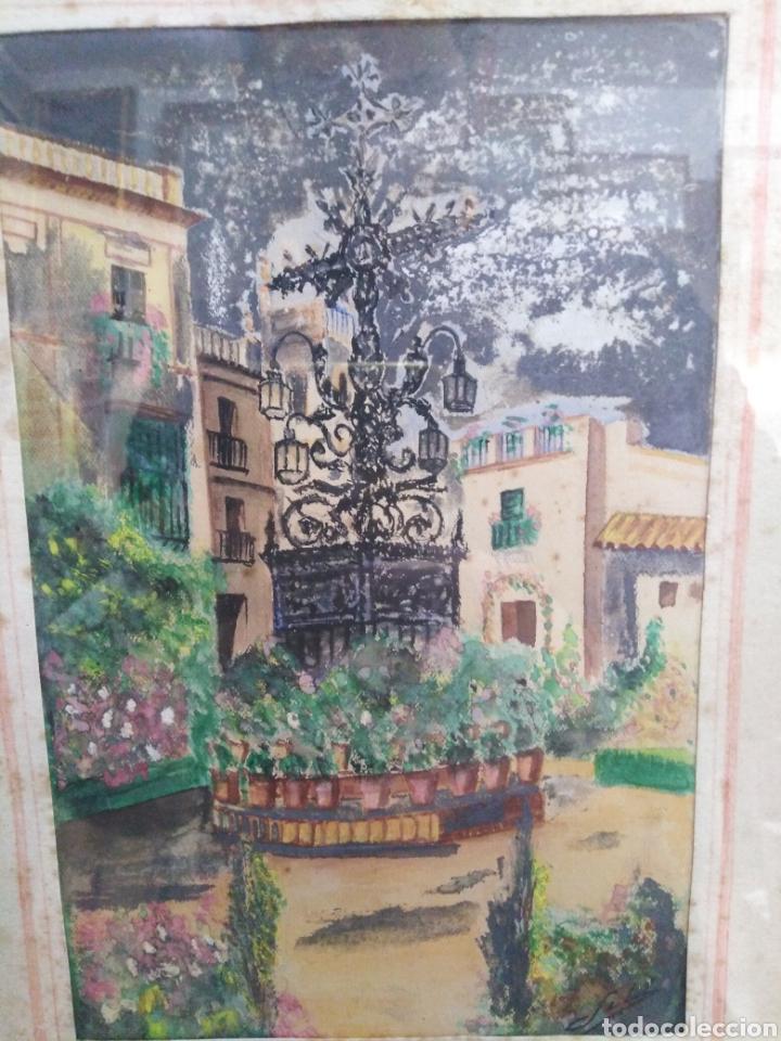 Arte: Acuarela antigua años 50 patio andaluz - Foto 3 - 198296216