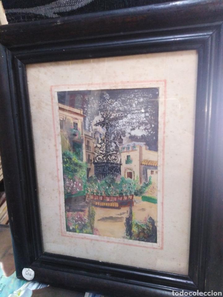 ACUARELA ANTIGUA AÑOS 50 PATIO ANDALUZ (Arte - Acuarelas - Contemporáneas siglo XX)
