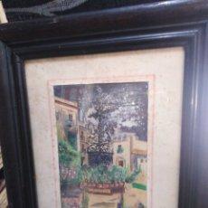 Arte: ACUARELA ANTIGUA AÑOS 50 PATIO ANDALUZ. Lote 198296216