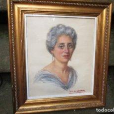 Arte: RETRATO GRAN DAMA, ACUARELA CARBONCILLO, MOLDURA DORADA MADERA Y VIDRIO 70X65CM + INFO. Lote 198368808