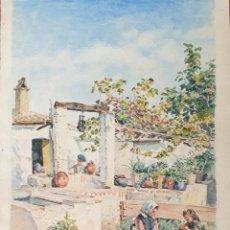 Arte: ESCENA FAMLIAR. ACUARELA SOBRE PAPEL. FIRMADO JULIAN DEL POZO. SIGLO XIX-XX.. Lote 198386025