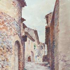 Arte: CALLE DE PUEBLO. ACUARELA SOBRE PAPEL. FIRMADO JULIAN DEL POZO. SIGLO XIX-XX. . Lote 198391448