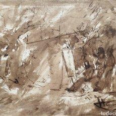 Arte: VICENTE MARCH I MARCÓ (VALENCIA,1859-1927) -ANUNCIACIÓN A LOS PASTORES.AGUADA PARDA I TINTA.FIRMADO.. Lote 197786276