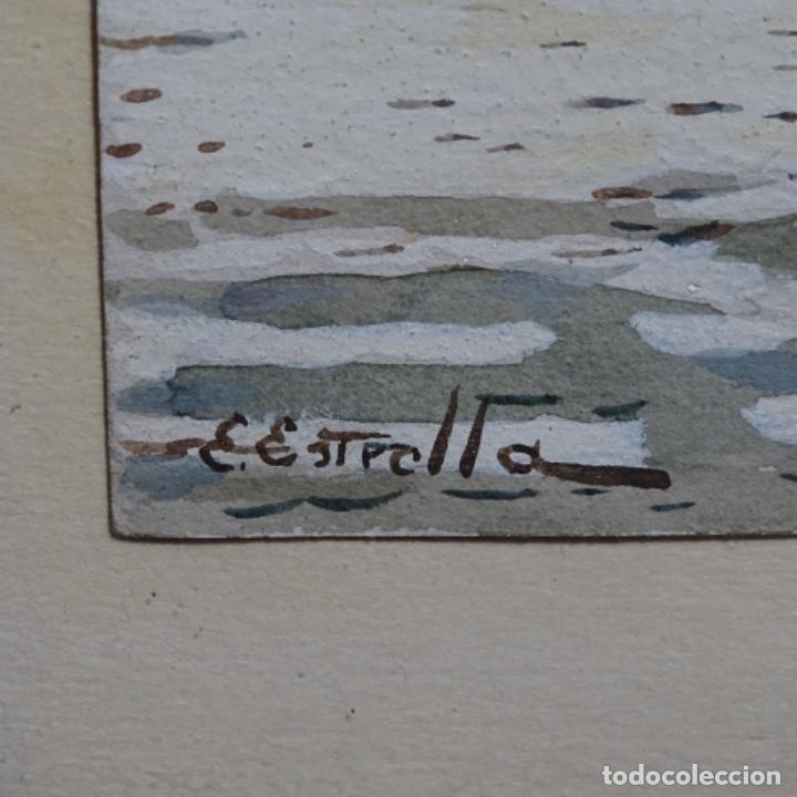 Arte: Acuarela de Emilio estrella suazo( principios de s.xx barcelona,ver rafols).excelente trazo. - Foto 7 - 199080287
