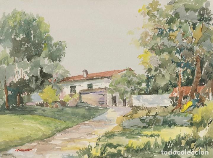JOSÉ RAMÓN CASADEVANTE - PAISAJE - ACUARELA SOBRE PAPEL - 47X63CM (Arte - Acuarelas - Contemporáneas siglo XX)