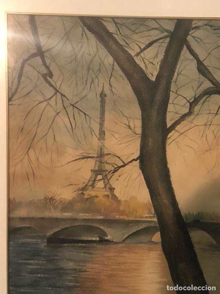 Arte: Magnifica acuarela, vistas De la Torre Eiffel, firmada - Foto 3 - 199166897