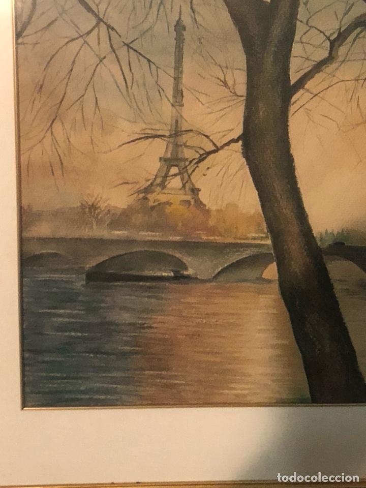Arte: Magnifica acuarela, vistas De la Torre Eiffel, firmada - Foto 4 - 199166897