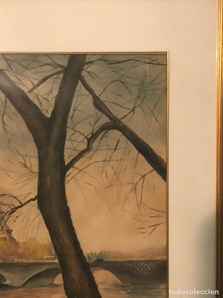 Arte: Magnifica acuarela, vistas De la Torre Eiffel, firmada - Foto 6 - 199166897